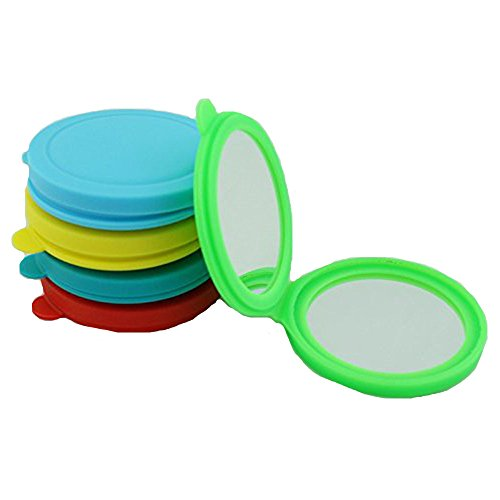 Kolight New Style Silica Gel Mini Cosmetic Portable Fold Pocket Women Girls Makeup Mirrors Double Sides One Is Normalanother Is Magnifying Green
