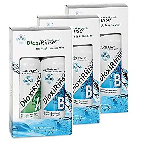 Sensitive Dental Care DioxiRinse Anti-Microbial Mouthrinse 32 Oz Tri-Pack New Boxed Design - Free Shipping