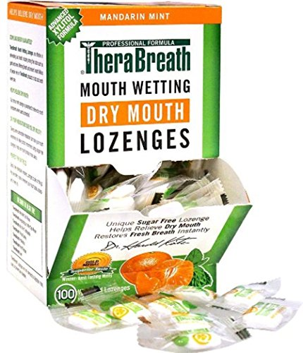 TheraBreath Mouth Wetting Lozenges Mandarin Mint 100 ea Pack of 2