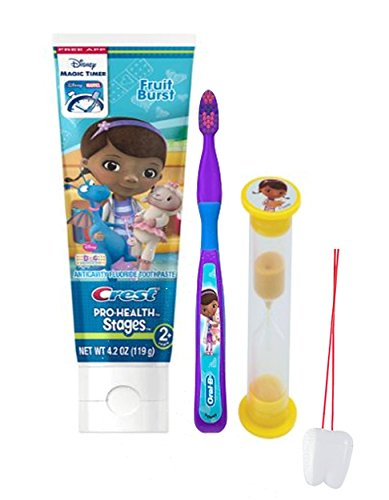 Disney Doc McStuffins 3pc Bright Smile Oral Hygiene Set Soft Manual Toothbrush Toothpaste Brushing Timer Plus Remember To Brush Visual Aid