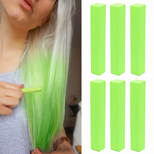 Crazy Neon Green Hair Dye  GREEN APPLE Temporary Hair Chalk  With Shades of Green Set of 6 Hair Dye  Color your Hair Neon Green in seconds with temporary HairChalk