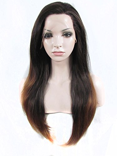 Sotica 2 Tones Blonde Ombre Long Straight Lace Front Wig for Women Black Root Heat Friendly Synthetic Hair Wigs