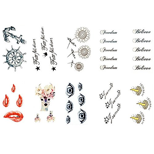 10 Sheets Fashion Body Art Stickers Removable Waterproof Temporary Tattoos  L
