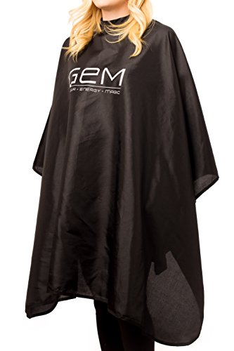 GEM Salon Professional Hair Styling Cape Nylon with Velcro Enclosure Cosmetologist Approved-Cutting Coloring Styling 55 W x 52 L Black
