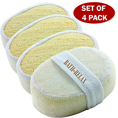 Exfoliating Loofah Bath Sponge Pads Pack Of 4 - Ultra Thick Great For Exfoliating Shower - 100 Natural - Best Luffa Sponge And Spa Scrubber For Men And Women - Body wash sponge