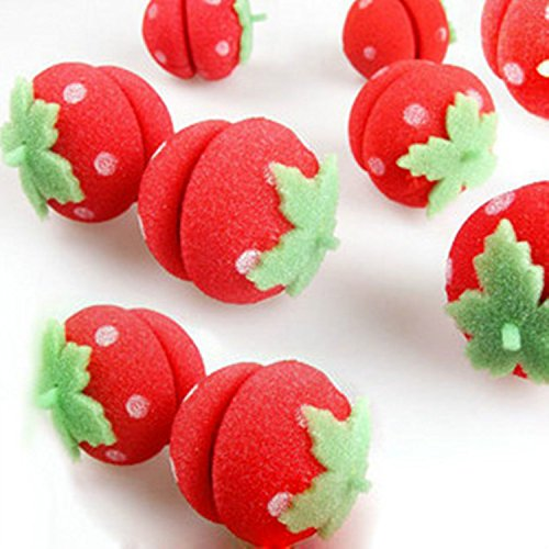 Cute Soft Round Sponge Strawberry Hair Curlers  Roller For Lady 12pcs by Viskey