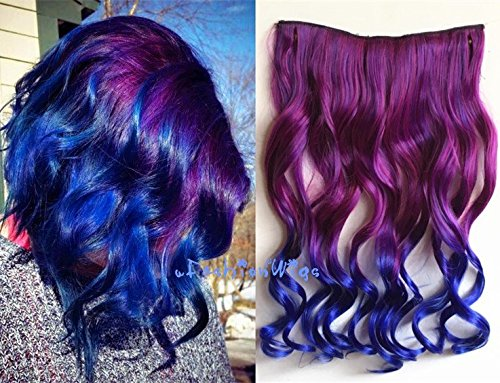 20 Purple to Blueviolet Two Colors Ombre Hair Extensions One Piece Full Head Hair Weft RHS614
