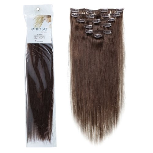 Emosa Clip in Hair Extensions 100 Real Human Hair 15 18 20 22 Remy Straight Hair Double Weft Thick Full Head Set Top Grade 7A For Woman Beauty4 Medium Brown22inch70g
