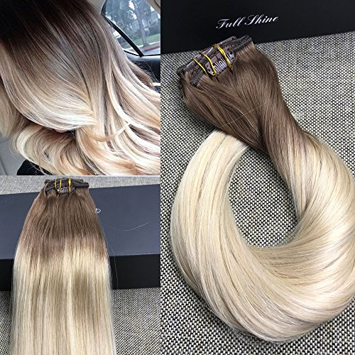 Full Shine 16 7 Pcs 120 Gram Color 6B Fading to 613 Blonde Balayage Extensions of Remy Human Hair Clip in Extensions Human Real Hair Clip in Extensions