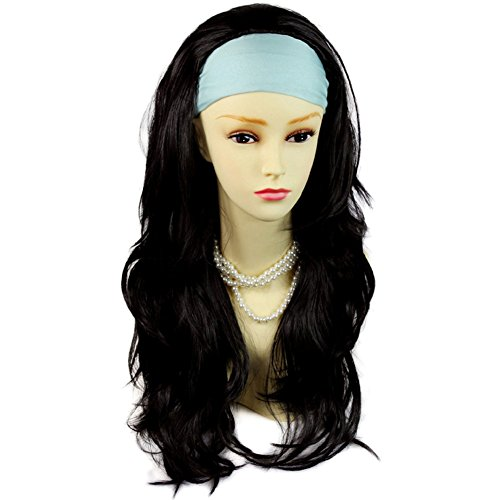 NEW Black Brown Long Layered Wavy ends 34 Wig Fall Hairpiece Hair Piece