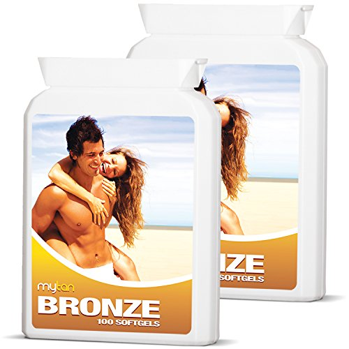 MyTan Bronze Tanning Pills  Twin Pack Discount  Over 12-Week Supply  Beta Carotene Tanning Tablets Without Sun