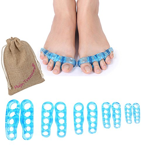 Yoga Toe Separator Stretcher Blue Gel Bunion Splints Bunion Relief Realign Hallux Valgus Hammertoe Claw Toe Cool Predicure Toe Spacer Help to Correct Toes And Relax Foot Gift Bag Packed Small