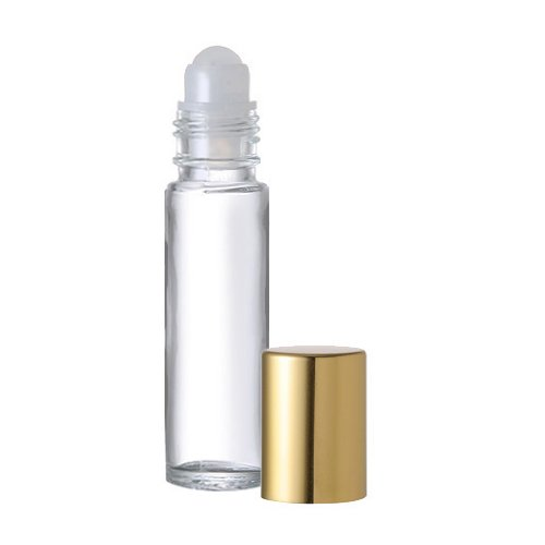 Roll on Refillable Perfume Bottle with Gold Cap Purse or Travel Size 13 oz 10ml INCLUDES 1 FREE 5ml DROPPER FOR EASY FILLING