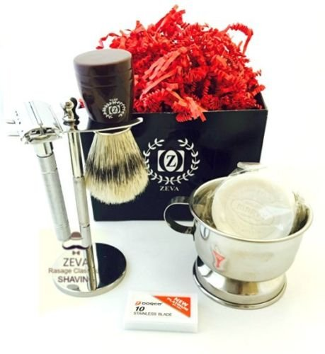 ZEVA Rassage DE Safety Premium Shave Shaving Set Soap Bowl Brush Kit Men Gifts