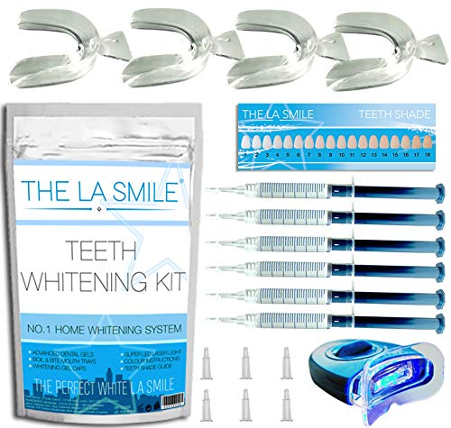 Teeth Whitening Kit - Professional At Home Teeth Whitening Kit with LED Light 6 whitening gels and 4 mouth trays - Incredible results