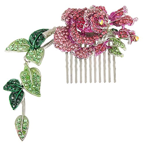 EVER FAITH Silver-Tone Austrian Crystal Wedding Rose Floral Vine Leaf 55 Inch Hair Comb Pink