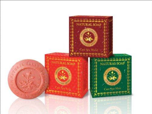 3 Boxes Assorted Madame Heng Natural Beauty Care Spa Soap  Mint Rose Wood Product of Thailand