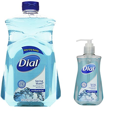 Dial Antibacterial Hand Soap 52 Oz Refill and 75 Oz Pump Spring Water
