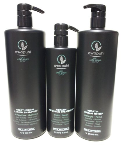 Paul Mitchell Awapuhi Wild Ginger Moisturizing Lather Shampoo 338 Oz Keratin Cream Rinse 338 Oz and Keratin Intensive Treatment 169 Oz Set