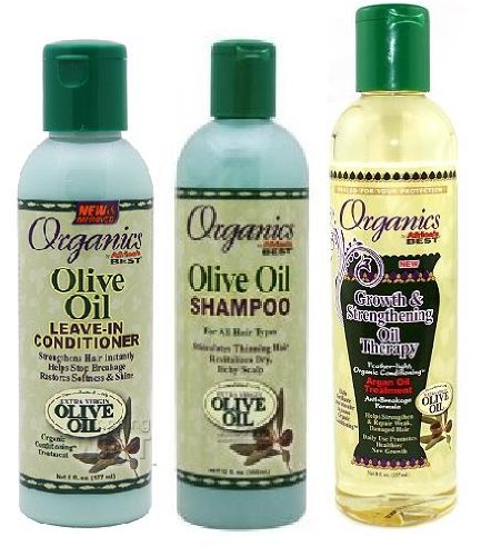 Africas Best Olive Oil Organics Trio Combo Pack Shampoo Leave-in Conditioner Growth Strengthening Oil Therapy Plus 3 Free of Apple Eye Pencil Color Radiant Blue