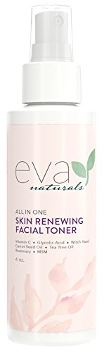 Eva Naturals All-In-One Skin Renewing Facial Toner 4 ounce - Face Moisturizer and Natural Skin Cleanser Brightens Restores and Helps Fight Acne - with Vitamin C Lavender and Bee Propolis