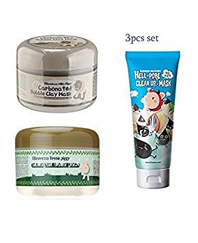 Elizavecca Bubble Clay Mask  Collagen Jella Pack  Hell- Pore Clean Up Nose Mask 3pcs set