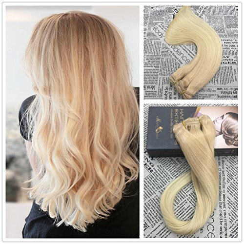 Moresoo 18 120 Grams Thick to End Clip in Human Hair Extensions Ombre Balayage Color Strawberry Blonde Fading to BlondeColor 613 100 Real RemyRemi Clip in Hair Extensions Full Head Set