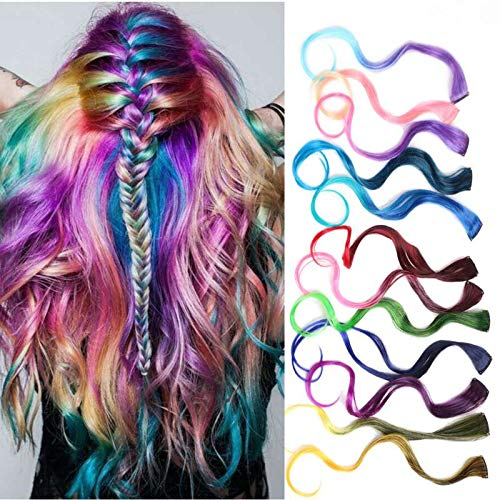 12 Pcs Body Wave Colored Clip in Hair Extensions Long Colored Party Highlights Hairpieces Ombre DIY Hair Synthetic Hair Accessories12 Colors12 Pcs in Set -Body Wave