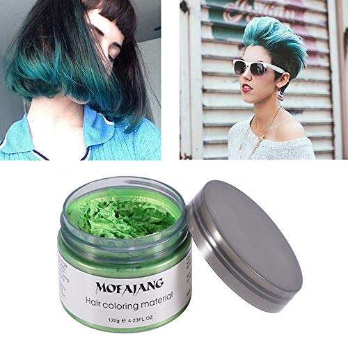 Mofajang Green Hair Color Wax Natural Hairstyle Wax 423 oz Temporary Hairstyle Cream for Party Cosplay Halloween Daily use Date Clubbing Green