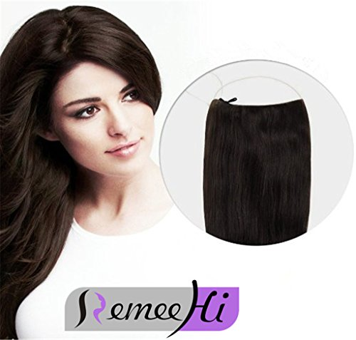 Remeehi 28cm Width Easy Wear One Piece Invisible Wire Halo Hair Extensions 100 Remy Real Human Hair Extensions 120g 18 Inches 10 Medium Golden