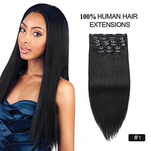 Clip in Human Hair Extensions Black Re4U 14inch Silky Straight 1 Jet Black Real Clip in Hair Extensions African American 110grams Real Remy Hair 14 10pcs 110g 1 Jet Black