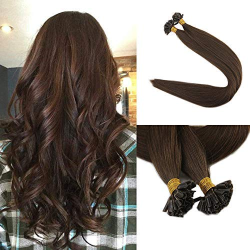Fshine U Tip Remy Human Hair Extensions 22inch 1g per Strand 50 Grams Per Package Solid Color 4 Dark Brown Hair Extensions U Tip Keratin Straight 100 Human Hair Extensions