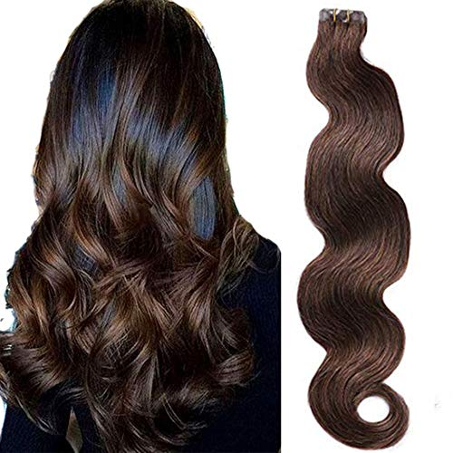 Samrtinnov Tape Hair Extensions 2 Dark Brown Body Wave Human Hair Seamless Tape in Extensions 60grams 20pcspack 22inches Soft Wavy Brown Real Hair Glue in Extensions