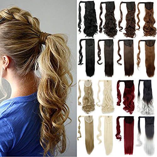 24 Straight Wrap Around Ponytail Extension for Woman Synthetic Hair Extension
