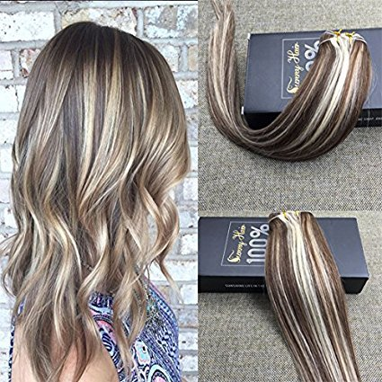 Sunny 7A Quality 100 Brazilian Remy Human Hair Weave Weft Ombre Hair Extensions MediumChocolate Brown Mix Bleach Blonde Sew in Hair 18inch One Bundle 100G Weight