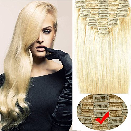16-24 130g-180g Platinum Blonde Thick 100 Double Weft Clip in Human Hair Extensions True Natural Hair Extensions Straight Good Quality for Girls Beauty Salon 8pcs 18inch 140g