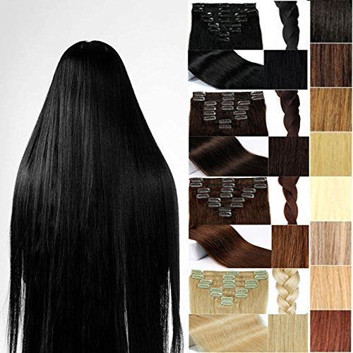 FUT 18 Clips in 8 PCS 3-5 Days Delivery 20inch 150g Straight Full Head Grade 7a 100 Percent Double Weft Human Hair Pieces Extensions for Girl Lady Dark Brown