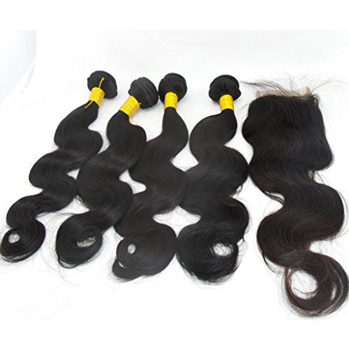 Lanova Beauty 4Bundles1Closure Peruvian Human Hair Weave Real Hair Weave Body Wave Hair 4Pcs18202224and 1Pc Remy Hair Closure4418