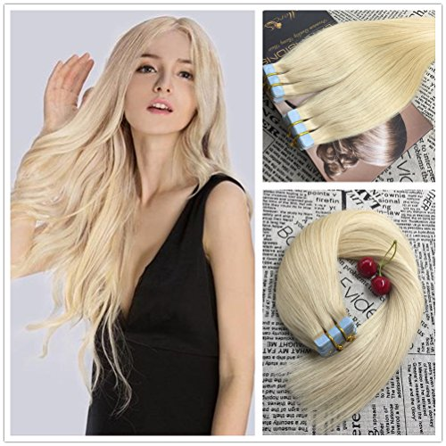 Moresoo 24 inch 50g20pcs 100 Straight Unprocessed Remy Virgin Human Hair Bleach Blonde Color 613 Seamless Skin Weft Tape In Hair Extensions