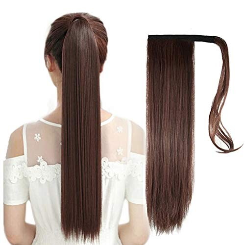 Synthetic Wrap Around Straight Ponytails Hair Extension One Piece Hairpiece Pony Tail Clip in Hair Extensions for Womens6