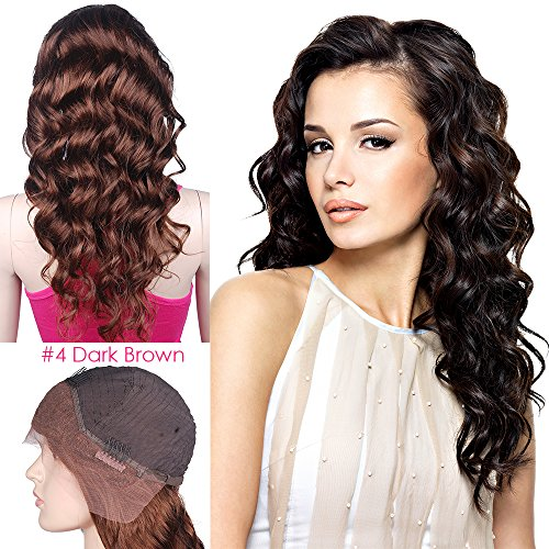 Mike Mary Indian Remy Hair Lace Front Wigs Body Wave for Black Women with Baby Hair 24inch 4 Dark Brown