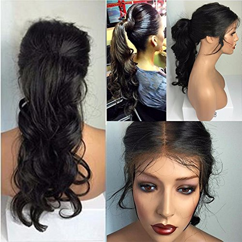 Freyja Hair 8A Unprocessed Peruvian Ponytail Free Part Loose Wave Glueless Lace Wigs for Black Women 130 Density Human Hair Lace Front Wigs with Baby Hair16 inch1B