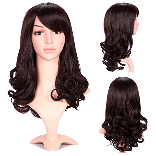 Dreamlover Womens Wigs Medium Length Curly Dark Brown Side Bangs with Wig Cap as a gift
