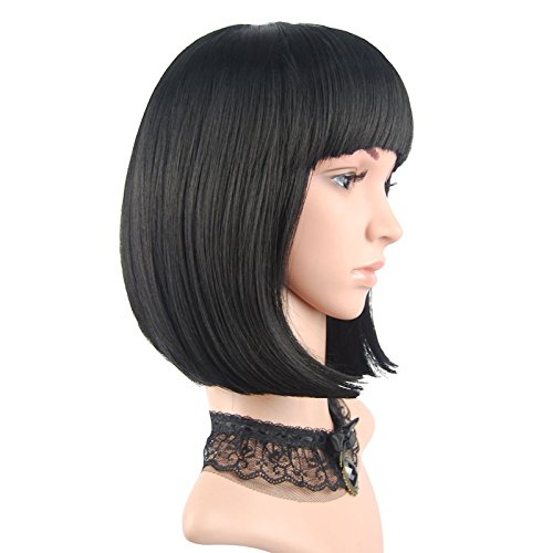 eNilecor Straight Short Hair Bob Wigs 12 with Flat Bangs Cosplay Synthetic Wigs for  Women Natural As Real HairBlack