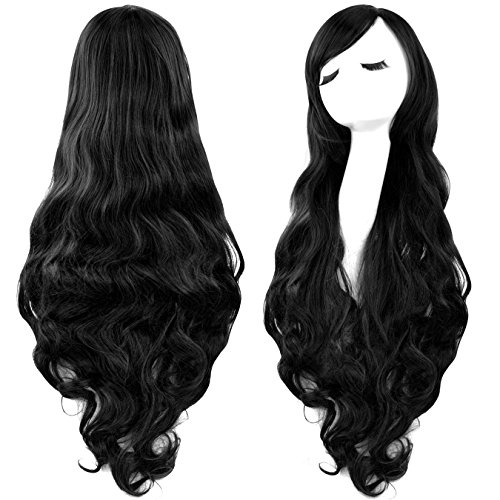 Rbenxia Curly Cosplay Wig Long Hair Heat Resistant Spiral Costume Wigs Black 32 80cm