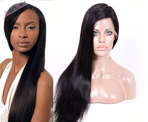 Premier straight Brazilian Virgin Human Hair Lace Front Wigs Glueless 130 Density Natural Straight Hair Lace Wig for Black Women Silky Straight Human Long Hair Wigs 18 1B off Black Straight Hair wig