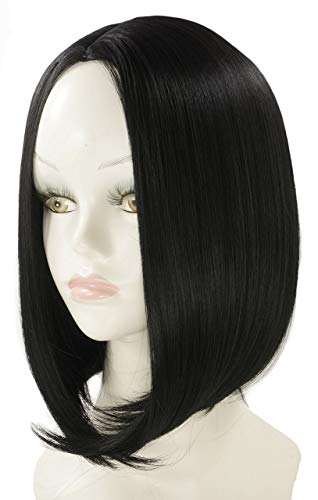 BLondwigs Synthetic Short Bob Wig Japanese High Temperature Fiber Wig Middle Side Straight Style Wig 180gpcs12inch Black