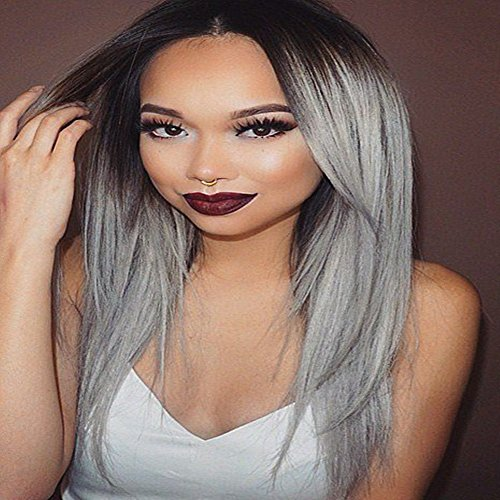 Seashinebeauty Straight Hair Dark Root Ombre Gray Lace Front Wigs Human Hair Wigs Half Hand Tied 16inch