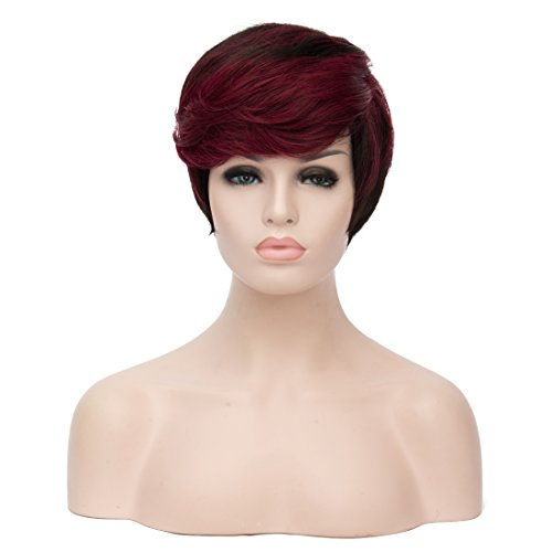 27CM 106 Womens Short Wave Wig Natural Straight Hair Two Tone Wine Red to Black Curly Highlight Side Bangs Wig for Black White Women Daily Cosplay Wigs