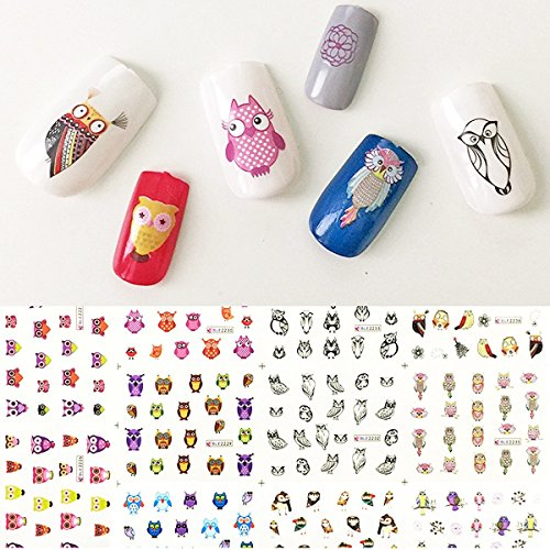 AllyDrew Owls Water Slide Nail Art Decals Water Transfer Nail Decals 11 Designs228 Nail Tattoos